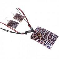 Гарнитур 2 предмета серьги, кулон Ракушка, ромб, принт леопард